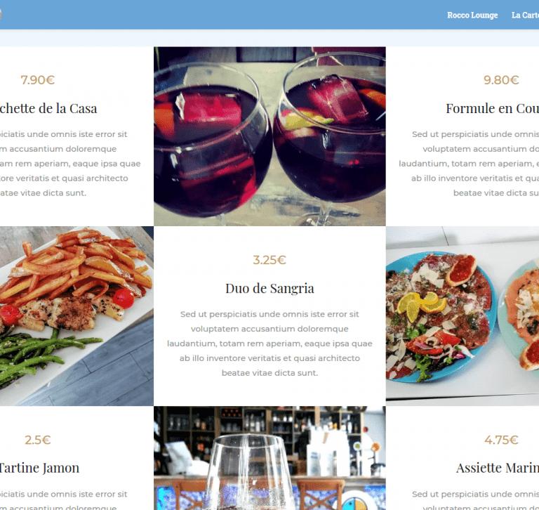 Plats proposés par le restaurant Rocco Lounge