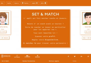 Page d'accueil de l'application Set & Match
